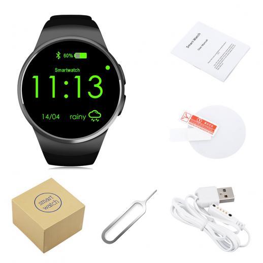 Kingwear KW18 Smartwatch Bluetooth 4.0 Hartslagmeter - zwart